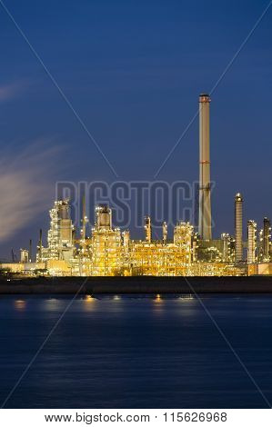 Oil Refinery In Harbor At Night