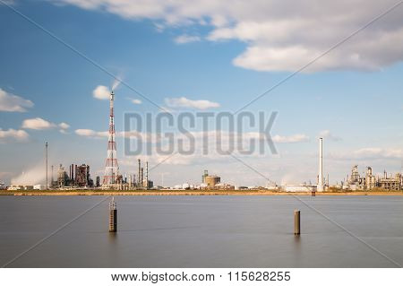 Antwerp Harbor Refinery And Flare Stack Long Exposure