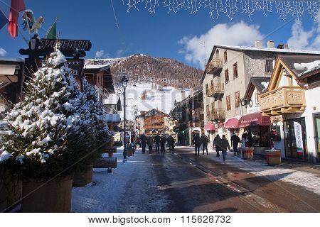 Livigno, Italy - January 4, 2016: View Of The Center Of Livigno