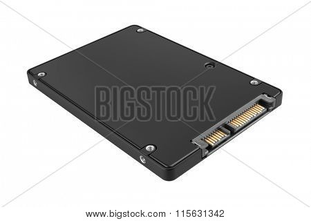 Solid state drive (SSD) isolated on white background