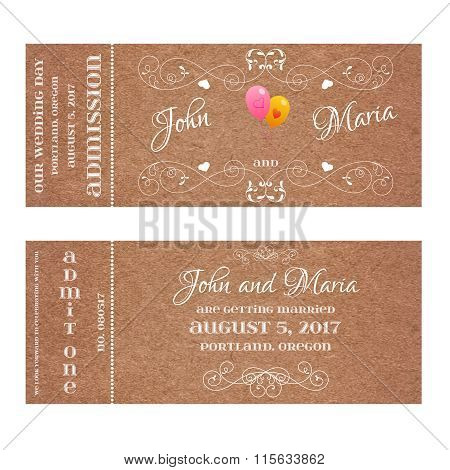Ticket for Wedding Invitation with air balloon