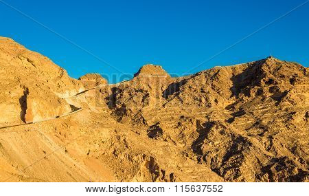 View Of The Top Of Jabel Hafeet Mountain On The Border Between Uae And Oman
