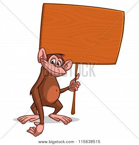 Vector illustration of Cartoon monkey with wooden sign. Mascot for Chinese New Year (Lunar New Year)