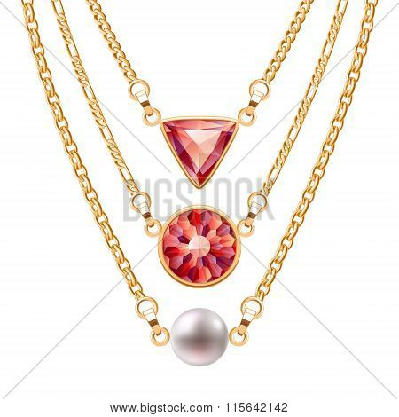 Golden chain necklaces set  with round triangle ruby pendants and pearl.