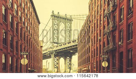 Retro Stylized Manhattan Bridge Seen From Dumbo, New York.