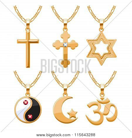 Elegant rubies gemstones vector jewelry religious symbols pendants for necklace or bracelet set.  Good for jewelry gift design. poster