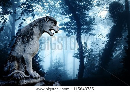 Ancient lion statue and mysterious landscape of foggy forest