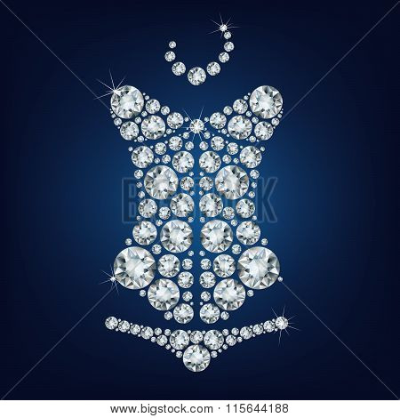 Lady's sexy corset made from diamonds.