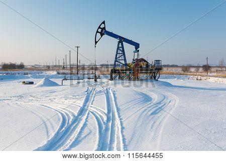Oil Derricks In Winter