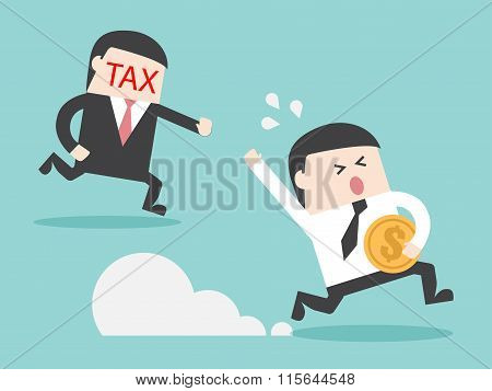 Tax Hunting Grab Businessman With Money