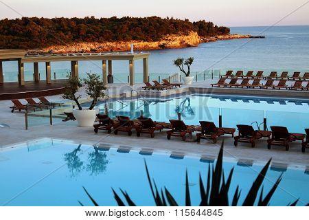 Mediterranean dream swimming pool sunset