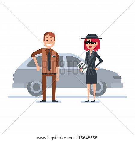 Mystery shopper woman in spy coat checks car dealer