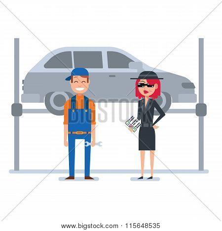 Mystery shopper woman in spy coat checks car mechanic