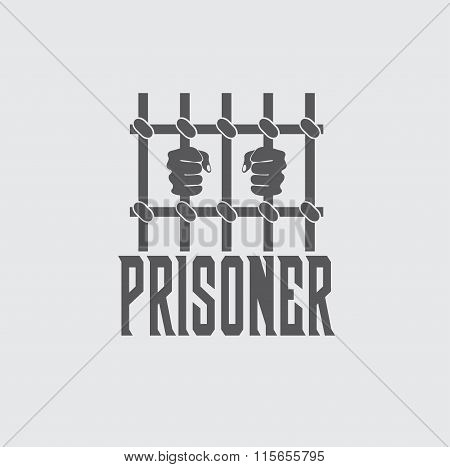 Prisoner Hands Behind Bars Vector Design Template