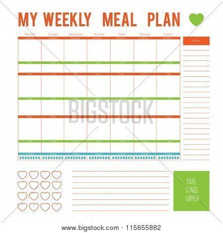Meal Plan for a week,calendar page. Vector printable boxes,half boxes, in flat colors for planners,