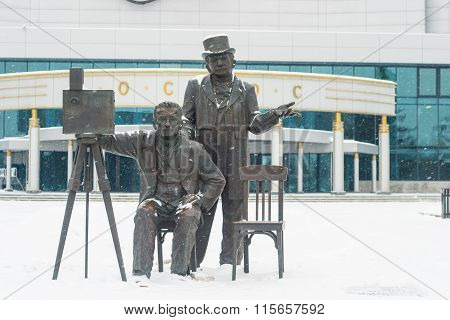 December 2015. Monument to the Lumiere brothers in Yekaterinburg.