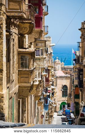 traditional Valletta street down to the sea