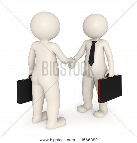 3D Business People Shaking Hands