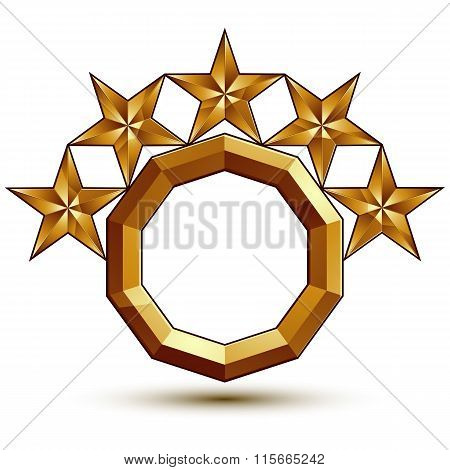 Wonderful Vector Template With 5 Golden Stars, Rounded Symbol, Best For Use In Web And Graphic Desig