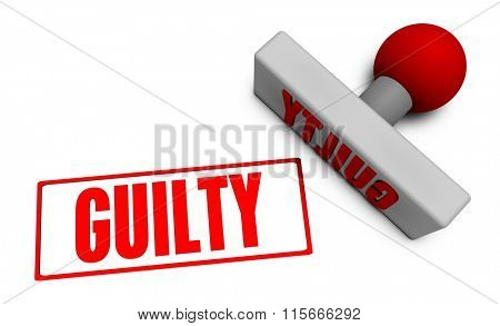Guilty Stamp or Chop on Paper Concept in 3d