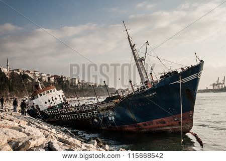Old Ship Washed Ashore In Bosphorus