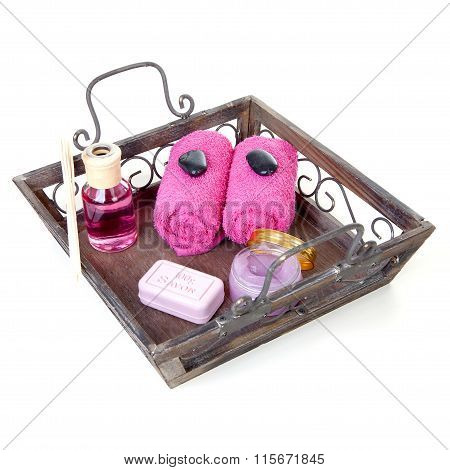 Tray With Pink Accessories For Beauty And Spa