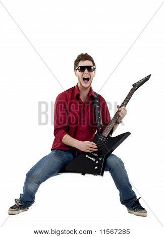 Musician With Guitar Singing