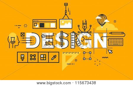 Thin line flat design banner of graphic design solutions.