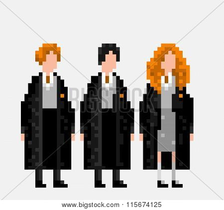 Usa, January 25, 2016: Stylized Pixel Art Illustration Of Three Main Characters Of Harry Potter Nove