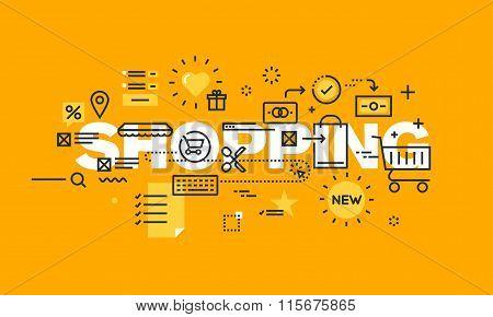 Thin line flat design banner of online shopping