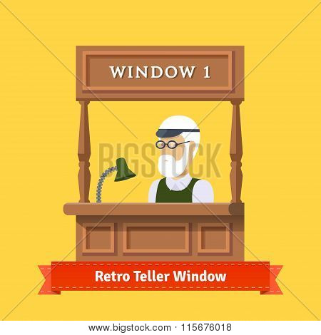 Retro teller pawn shop window