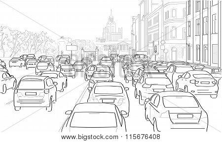 Traffic Jam Of Cars