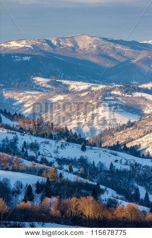 Mountainous Area  On Winter Morning
