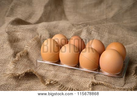 Egg On Burlap Material Background  Plastic Tray