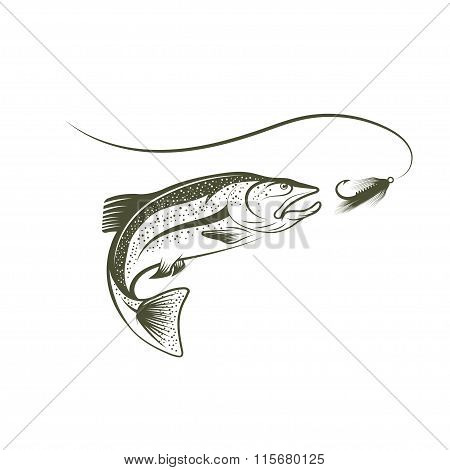 Jumping Salmon And Lure