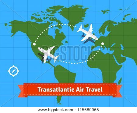 Transatlantic jet plane travel concept