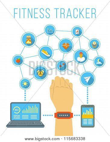 Fitness Tracker Flat Vector Infographic Illustration