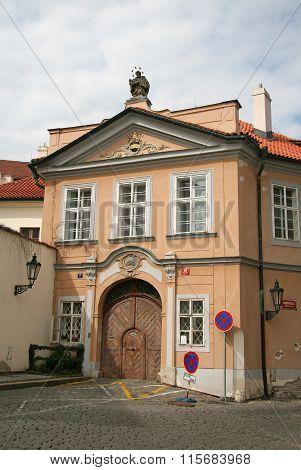 Prague, Czech Republic - April 16, 2010: Building On Hradcany Square (hradcany Square (hradcanske Na