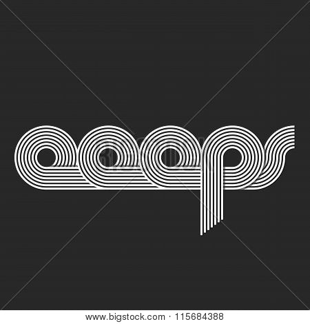 Word Ooops Logo Lettering, Offset Line Overlapping Style, Error Message Site