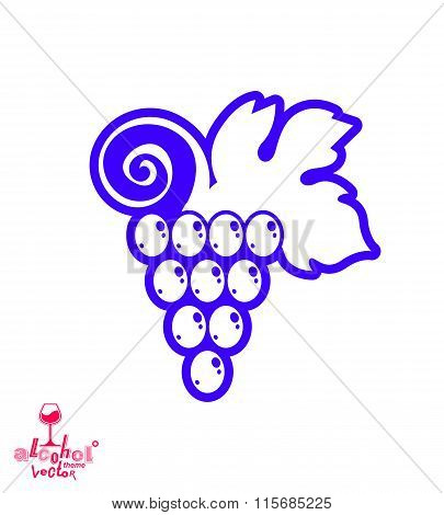 Stylized Grape Vine Vector Illustration. Winery Symbol Best For Use In Advertising And Graphic