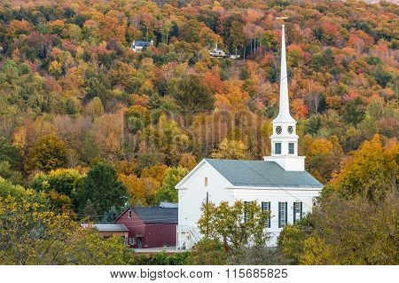 Fall Foliage Landscape And Church In Stowe, Vermont