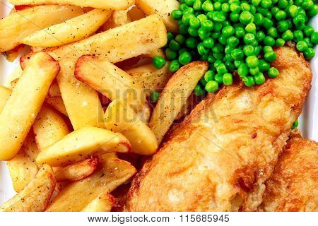Traditional Fish and chips with peas