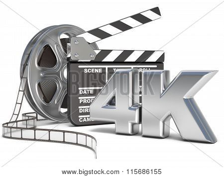 Film reels and movie clapper board. 4K video icon. 3D