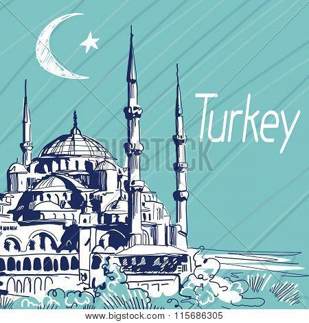 Hand Drawn Vector Illustration. Turkey