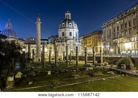 Trajan's Forum (foro Di Traiano) And Trajan's Column At Night