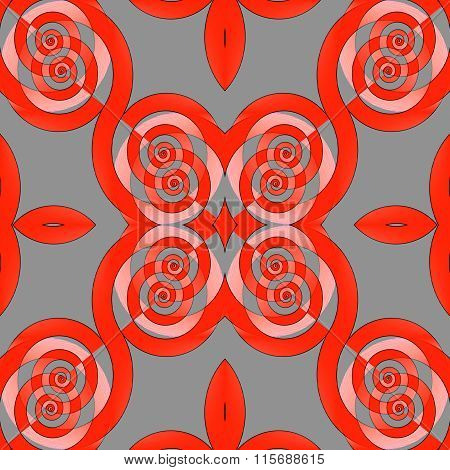 Seamless spiral pattern red pink gray