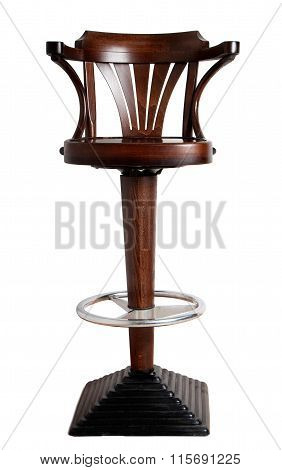 Bar Stool With Cast-iron Base And Wooden Seat With Armrests
