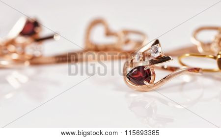Gold Ring Is Gracefully Curved Shape Ruby