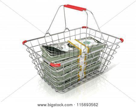 Steel wire shopping basket full of dollars stacks