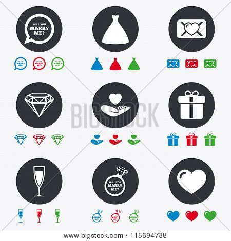 Wedding, engagement icons. Love oath letter.